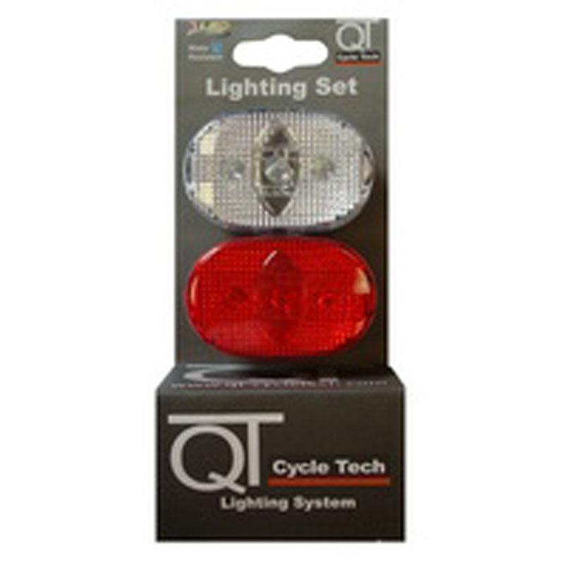 Světlo blikací přední a zadní QT Cycle Tech 3-diody, červené a bílé